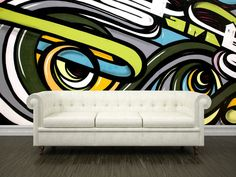 This Abstract Graffiti wall mural from Eazywallz.com creates an urban, artistic feel in any room in your home. The bright colors and swirls bring the beauty of the back alley into your home, without any of the risk or danger. This photo wallpaper brings big city art into your home.  This wall mural is printed on panels of 24 inch wide maximum. No extra tools, glue, paste or water needed for hanging. This wall mural is removable, re-usable and will not damage your walls. Choose one of ou...