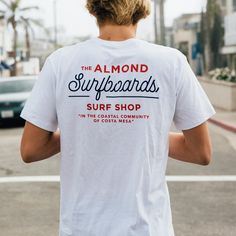 Almond Surfboards, Menswear, and Essentials for Craftsmen of all varieties. Costa Mesa, CA. Tee Shirt Designs, Tee Design, Design Shop, Surf Shirt, Ex Machina, Surf Outfit, Grafik Design, Apparel Design, Printed Shirts