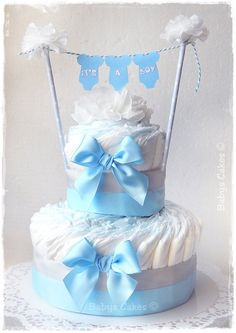 Gateau de couches baby shower It's a boy #babyshower #cadeaunaissance #diapercake #gateaudecouches