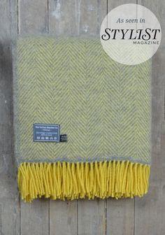 Lifestyle New Wool Blanket in Grey and Lemon Herringbone  | The Tartan Blanket Co.