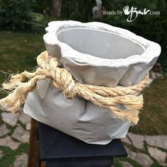 Tied Concrete Bag Planter