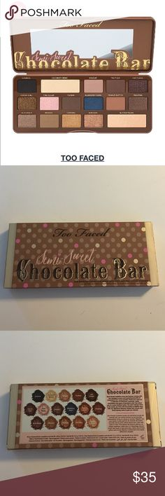 Too Faced Semi Sweet Chocolate Bar Shadows Indulge your beauty craving with 16 antioxidant rich, cocoa powder infused matte and shimmer shades of warm caramels, deep mochas, bronze chocolate hues and a pop of sugared blueberry. One of their best selling palettes!! Price is firm unless bundled! Too Faced Makeup Eyeshadow