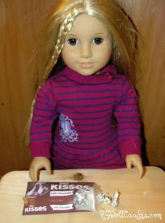Make a 1:3 Scale Bag of Hershey Kisses  -  Note:  American Girl Doll scale is 1:3 which means that if the real food is 3 inches in size, the AG Doll food should be 1 inch in size.