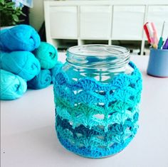 """The location where building and construction meets style, beaded crochet is the act of using beads to decorate crocheted products. """"Crochet"""" is derived fro Crochet Cozy, Bead Crochet, Free Crochet, Crochet Winter, Mason Jar Cozy, Small Mason Jars, Craft Stick Crafts, Diy Crafts, Crochet Jar Covers"""