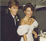 "Denis Leary and Ann Lembeck at their wedding, 1989. Ann's remarks about her wedding dress are hilarious (paraphrased: ""The wedding was by a lake, but that doesn't explain why the sleeves look like water wings."")"