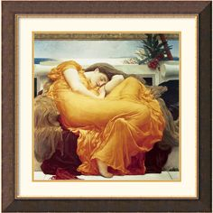Add elegance to your walls with this stunning framed art print. Featuring 'Flaming June' from Lord Frederic Leighton, this romantic painting will add a focal point to any room. The fiery orange details within the gilded frame provide a bold ambiance.
