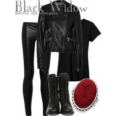Black Widow, created by disney-bound on Polyvore
