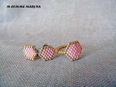 Parure perles Miyuki 2 pièces Rose et doré tissée à la main Bohochic Bohostyle Bohemian : Parure par m-comme-maryna