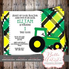Tractor Birthday Party Invite, Farm Themed Invitation with Yellow, Black and Green Background by BellaArtista Invitations -www.bellaartista.com : $15.00