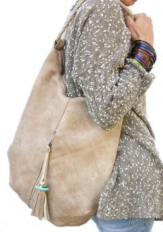 Large Leather Tote Hobo bag with tassel handmade bohemian