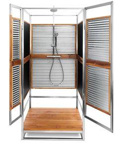Our PS122 model. www.oborain.com #modern #prefab #corrugated sheet #metal #richlite #teak #sustainable #architecture #design #outdoor #shower #oldschool