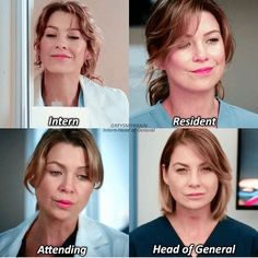 Evolution Of Meredith Grey ! Grey's Anatomy Tv Show, Grays Anatomy Tv, Greys Anatomy Memes, Grey Anatomy Quotes, Meredith E Derek, Grey's Anatomy Doctors, Greys Anatomy Characters, Lexie Grey, Grey Quotes