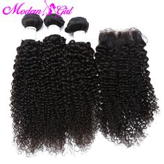 7a Mongolian kinky curly hair with closure 3 bundles with closure cheap kinky curly weave with closure mongolian curly hair