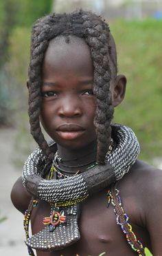 Africa |  Portrait of a Himba Girl. Namibia