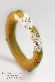 Items similar to Hand Felted Bangle — Antique Gold (Made to Order) – Bohemian BOHO Fashion on Etsy – 2020 Fashions Womens and Man's Trends 2020 Jewelry trends Felt Bracelet, Felt Necklace, Jewelry Crafts, Jewelry Art, Beaded Jewelry, Gold Jewelry, Jewellery, Textile Jewelry, Fabric Jewelry