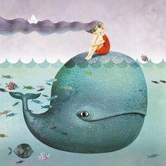 Marie Desbons for La Marelle. Art And Illustration, Illustration Mignonne, Illustrations Posters, Art Fantaisiste, Whale Art, Fish Art, Whimsical Art, Sea Creatures, Illustrators