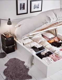 Use these bedroom storage hacks to organize your sleeping space. With these space-saving bedroom storage ideas, you'll free up precious floor space while giving all of your clothes, shoes, and toys a designated spot. Small Bedroom Designs, Small Room Design, Bedroom Small, Tiny Bedroom Storage, Storage Room, Tiny House Storage, Small Room Storage Ideas, Trendy Bedroom, Bedding Storage