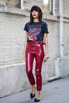 Evangelie Smyrniotaki in vinyl pants | by Vinyl Beauties
