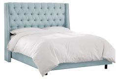 love this color!  Sophia Wingback Bed, Linen Pool on OneKingsLane.com