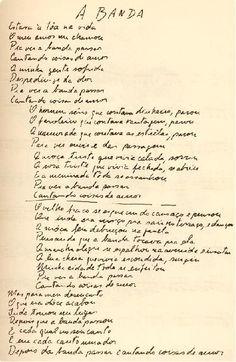 "Manuscrito ""A Banda"", de Chico Buarque."