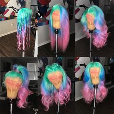 Wholesale Virgin hair manufactures over 18 years , HD frontal wigs vendors . Premium lace wig, HD closure and HD frontal factory Baddie Hairstyles, My Hairstyle, Weave Hairstyles, Pretty Hairstyles, Prom Hairstyles, Cute Hair Colors, Cool Hair Color, Weave Hair Color, Rainbow Wig