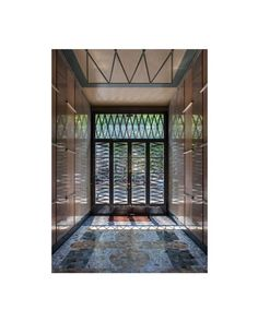 "From floor to ceiling, geometric patterns abound in the interior view of Viale Giustiniano another typical ""Entryways of Milan"" Geometric Patterns, Milan, Entryway, Tower, Ceiling, Flooring, Interior, Inspiration, Entrance"