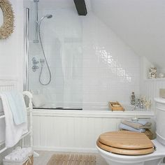bathroom configuration for sloped ceiling - half-way glass shower partition
