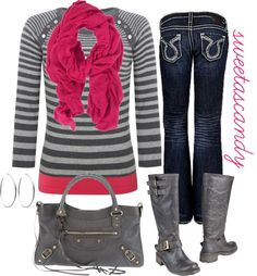 """hot pink, and grey"" by sweetlikecandycane on Polyvore"