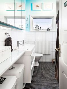 scandinavian bathroom, black mosaic floor