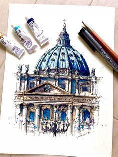 Drawing and Painting St.Peter's Basilica, Vatican City. Travelling, Drawing and Painting. By Akihito Horigome.Peter's Basilica, Vatican City. Travelling, Drawing and Painting. By Akihito Horigome. Watercolor Architecture, Architecture Sketchbook, Art Sketchbook, Art And Architecture, Travel Sketchbook, Renaissance Architecture, Historical Architecture, Watercolor Sketch, Watercolor Paintings