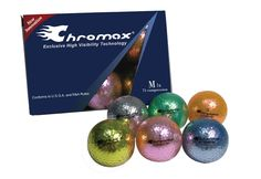 A set of golf colored and shiny golf balls that makes them easy to find.