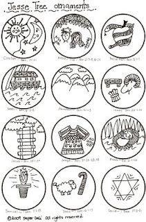 Paper Dali: Jesse Tree ornaments (Days 1-12)