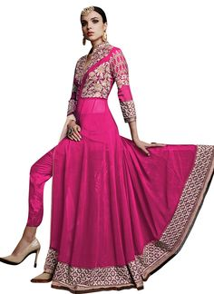 Hot Pink Ankle Length Anarkali Suit