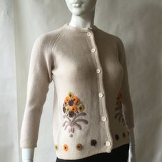 1960's flower embroidered wool cardigan, flowers in brown, maize, and orange on oatmeal, small - medium by afterglowvintage on Etsy