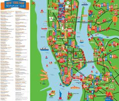 New York city large detailed tourist attractions map. Large detailed New York tourist attractions map. Large detailed tourist attractions map of New York city (NY, NYC). New York City Map, New York City Travel, New York Mets, New York Tourist Attractions, Tourist Map, Voyage New York, Nyc With Kids, New York Vacation, New York Trip