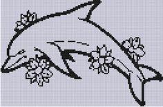 Dolphin Flowers Cross Stitch Pattern
