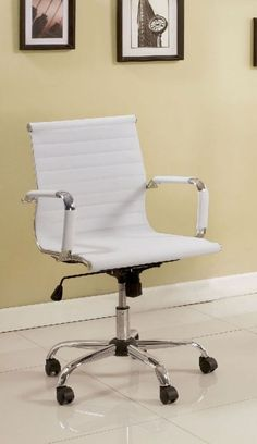 Modern Curved Vanity Chair with Adjustable Height in White ...