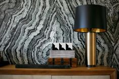 Metallic Lamp Pops in Black and White Dining Room