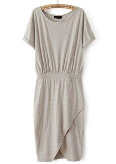 17.00 Grey Short Sleeve Split Bodycon Dress