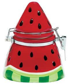 This watermelon theme cookie jar would make a unique addition to your kitchen decor. Other watermelon kitchen decor items include salt & pepper shakers, hand towels, serving plates, dishes, measuring spoons and more. Watermelon Cookies, Watermelon Decor, Kitchen Decor Items, Kitchen Stuff, Kitchen Accessories, Teapot Cookies, Watermelon Designs, Welcome To My House, Novelty Gifts