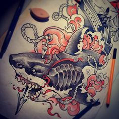 #tattoo #tattoos #tattooart #sleeve #mv #morozov #mvtattoo #tattooflash #flash #sketch #art #shark #sheep #ink #neotrad #татуза #морозов