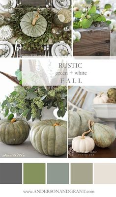 Check out this inspirational mood board featuring all the rustic green and white decorating ideas that you need to create a neutral fall color palette.   http://www.andersonandgrant.com