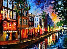 AMSTERDAM- RED LIGHTS - OIL PAINTING BY LEONID AFREMOV by Leonid  Afremov