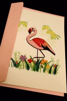 Flamingo - uvietstore.com.  #quilling #handmade #flamingo #greetingcard