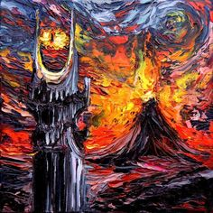 """Lord of the Rings Art PRINT - LOTR Art - Mordor Art - Dark Art - van Gogh Never Saw The Land Of Shadow - Art by Aja 8x8, 10x10, 12x12, 20x20, 24x24 inch sizes. Thank you for your interest in my art - ***Please read entire description of item.*** This is a print - it is NOT a painting. It is not on canvas. It is not framed. I do offer canvas options, please see other listings. This stunning print of my original painting entitled """"van Gogh Never Saw The Land Of Shadow"""" utilizes all silver..."""