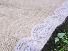 Burlap Aisle Runner with lace trim aisle runner by TandRDecor