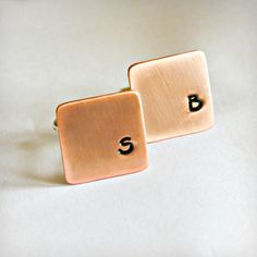 SQUARE CUFFLINKS in Brass, Copper or Sterling Silver Stamped with Initials, Great Gift for Father's Day, Birthday, Anniversary, Graduation