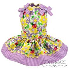 tonimari™2012 jumper dress, shirred - summer ladybugs (yellow/lavender)