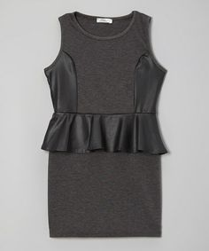 Take a look at this Charcoal Faux Leather Peplum Dress - Girls by Pinc Premium on #zulily today!