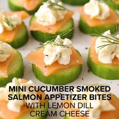 Cucumber Snack, Cucumber Appetizers, Smoked Salmon Appetizer, Cucumber Bites, Mini Appetizers, Healthy Appetizers, Appetizer Recipes, Gluten Free Recipes Videos, Low Carb Recipes